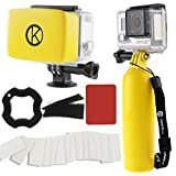 GoPro Accessory Bundle by CamKix including 1 Bobber plus Thumbscrew / 1 Removable Floaty for Housing Backdoor with Waterproof Velcro and Adhesive / 1 Set of 20 x Anti-Fog Inserts / 1 Thumbscrew Opening Tool / 1 Microfiber Cleaning Cloth / 1 Wrist Strap (Yellow)