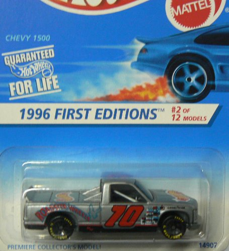 Mattel Hot Wheels 1996 1:64 Scale Silver First Editions Chevy 1500 Truck Die Cast Car 2/12
