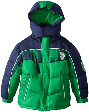 U.S. Polo Association Little Boys' Color Block Puffer Jacket with Plaid Print Across Chest, Green/Navy, 7
