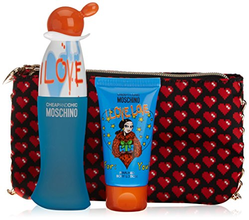 Moschino Cheap & Chic I Love Love -set da 3 pezzi, Lozione per il corpo 50ml + Eau la toilette 50 ml + sacchetto