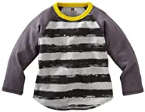 Tea Collection Baby-Boys Newborn Long Sleeve Stripe Raglan Tee, Jet Black, 3-6 Months