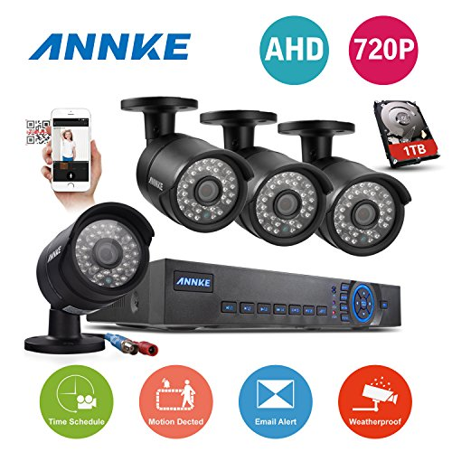Lowest Prices! Annke 8CH 720P Analog HD DVR with 1TB HDD 4 Day/Night 720P 1.0 MP AHD CCTV Camera Sys...