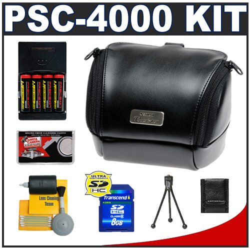 51TyhdGvujL Canon PowerShot PSC 4000 Soft Leather Carrying Case + (4) Batteries & Charger + 8GB Card + Tripod + Accessory Kit for SX120 IS & SX130 IS Digital Cameras