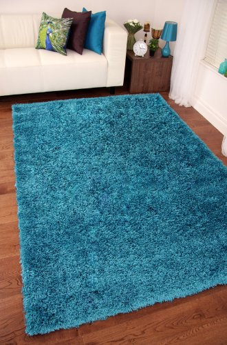 TEAL BLUE LUXURIOUS THICK SHAGGY RUGS 7 SIZES AVAILABLE 180cmx270cm (5ft11