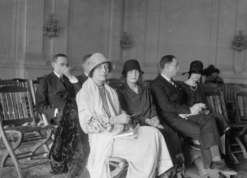 1925 photo Mrs. Wm. Mitchell & Mrs. E. Sands attend aircraft hearing of House of Rep., 2/27/25