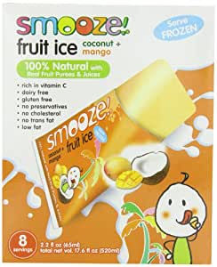 Smooze All Natural Fruit Ice,Coconut + Mango, 17.6 Ounce Boxes (Pack of 4)