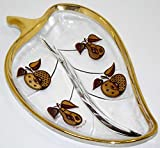1950's Georges Briard Gold Trimmed Divided Leaf Tray