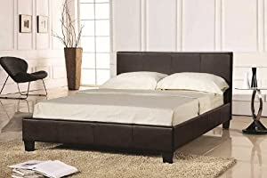 PAVIA / PRADO 4FT SMALL DOUBLE BED FRAME - BROWN FAUX LEATHER FINISHING