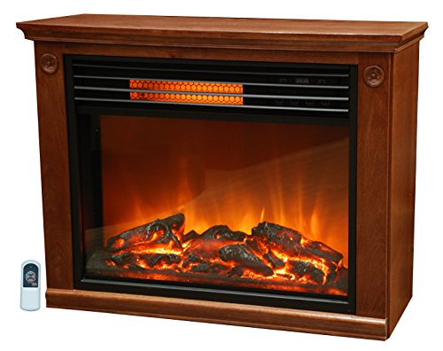 B0098FTCFW Lifesmart  Large Room Infrared Quartz Fireplace in Burnished Oak Finish w/Remote