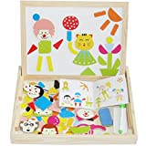 Vidatoy Learning And Education Wooden Magnetic Puzzle Easel Wisdom Double Sided Drawing Board For Kids