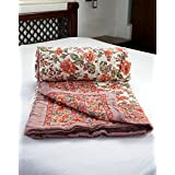 Double Bedsheet Set In Cotton Printed In White, Light Blue And Dark Blue Combo With Blue Border - Queen Size