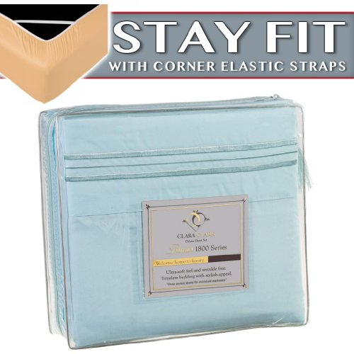 Clara Clark 1800 Series Bed Sheet Sets - Stay Fit On Mattress With Elastic Straps At Corners - King, Light Blue Aqua