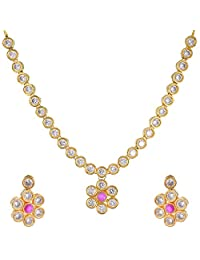 Divya Collection Elegant American Diamond Kundan Necklace Set With Ruby Stone For Women