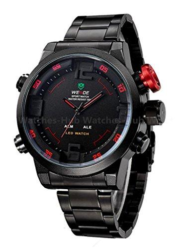 Genuine Weide Big Case Date Day Led 3D Men Quartz Black Dail Sport Wrist Watch-Red Design With Black Band