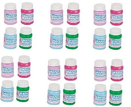Happy Birthday Bubbles - Assorted Color Mini 1 Oz Bubble Bottles - 24 Pack - For Children, Parties, Party Favors, Games, Fun, Gifts, Play, And Celebrations -By Kidsco (Bubble Blower For Parties compare prices)