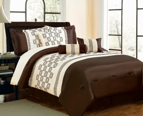 Brown White 7 Piece Comforter Set Queen Size Bed In Bag 0060 front-165792