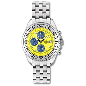 Men's Sartego Ocean Master Chronograph Watch with Three Subdials Yellow Dial