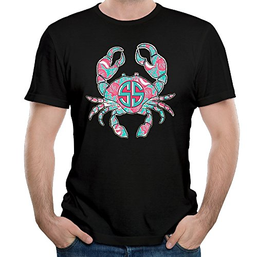 mens-casual-crab-on-a-sunrise-shirt-black