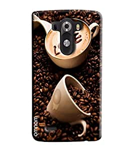 Omnam Cups Lying In Coffee Bean With Love Written In Coffee Printed Designer Back Cover Case For LG G3