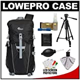 Lowepro Photo Sport Sling 100 AW Digital SLR Camera Backpack Case (Black) + Photo/Video Tripod + Nikon Cleaning Kit for Nikon D3100, D3200, D5000, D5100, D7000, D700, D800, D4 Digital SLR Cameras