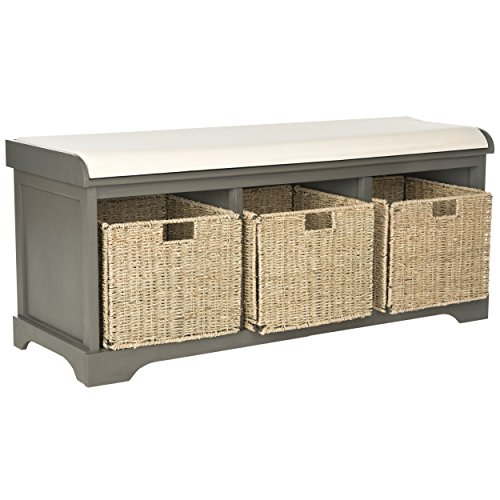 safavieh american home collection lonan grey and white storage bench furniture benches entryway. Black Bedroom Furniture Sets. Home Design Ideas