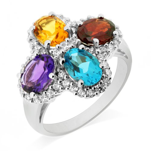 LenYa Special - Stunning new design Anniversary Sterling Silver Ring with Oval Amethyst, Oval Blue Topaz , Oval Citrine, Oval Garnet, Round Cubic Zirconia, (Ring Size 6.75)