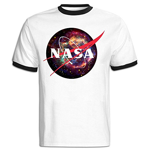 TIKE Men's NASA Logo Colors Space Short Sleeve Ringer T Shirts Color Black Size M (Space Cup Tee compare prices)