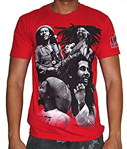 Bob Marley Quad Photo Adult Red T-Shirt S