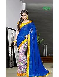 Aarti Saree Blue Sari Printed Georgette Saree Half Half Saree - B01AT5291S