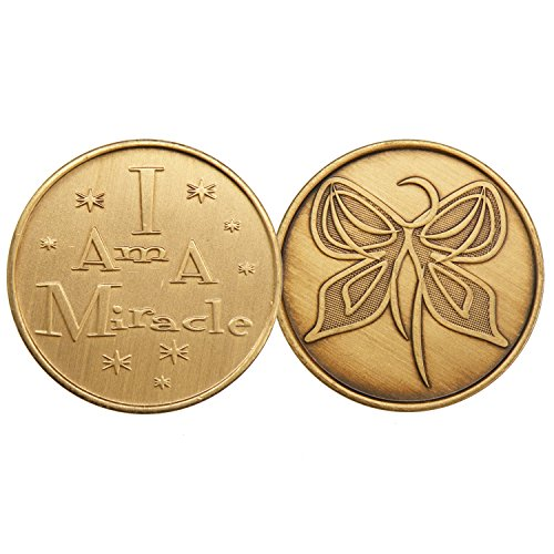 I Am A Miracle Butterfly-Bronze AA (Alcoholics Anonymous) -ACA-AL-ANON - Sober / Sobriety / Affirmation / Birthday / Anniversary / Desire / Recovery / Medallion / Coin / Chip