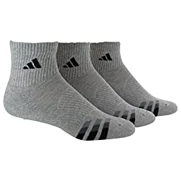 adidas Men\'s Cushion Quarter Socks (Pack of 3), Heathered Light Onix/Black/Granite/Tech Grey, One Size
