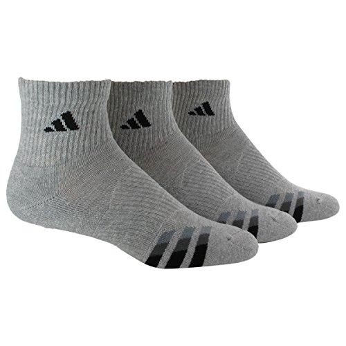 Adidas Men's Cushion Quarter Socks (Pack of 3), Heathered Light Onix/Black/Granite/Tech Grey, One Size