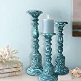 Fine Carved Pillar Candle Holder Set In Vintage Distressed Blue & Turquoise Color