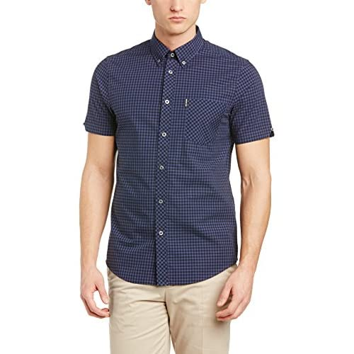 <strong>Ben Sherman< strong> Men's Gingham Checked Short Sleeve Shirt