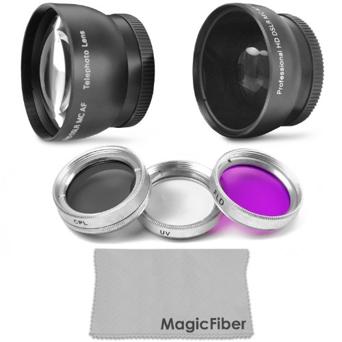 37Mm Essential Lens And Accessory Kit For Video Camera Camcorders (Sony Handycam Hdr, Canon Vixia) - Includes: 2.0X Telephoto And 0.50X Wide Angle High Definition Lenses + Filter Kit (Uv, Cpl, Fld) + Premium Magicfiber Microfiber Cleaning Cloth