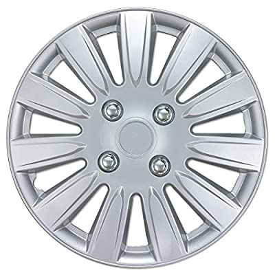 "BDK Hubcaps Wheel Cover, 14"" Silver Replica Cover, (4 Pieces)"