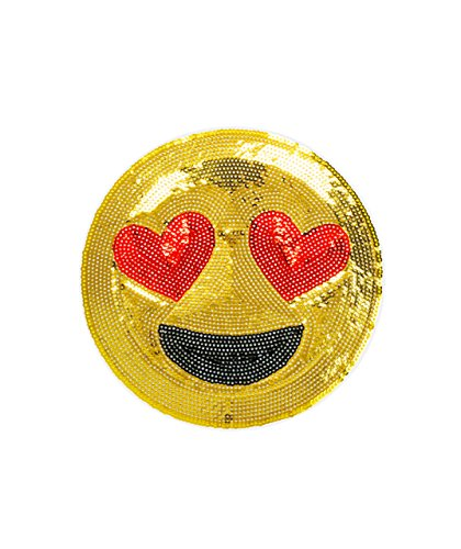 iDecoz Emoji Heart Eyes Peel-And-Stick Sequin Sticker Patch / Patch Your Denim Jeans Jacket Clothing Handbag Luggage Shoes Hats Laptops Phone Locker Notebook & Anything Else You Can Think Of