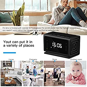 Hidden Camera Miota Spy Camera Wireless Security Nanny Cam with 1080P Full HD, WiFi, Night Vision, Motion Detection, Bluetooth Speaker,FM Radio,Cell Phone App,No Sound Recording (Color: Black)