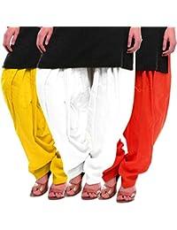 Women's Yellow-White-Orange Cotton Patiala Salwar