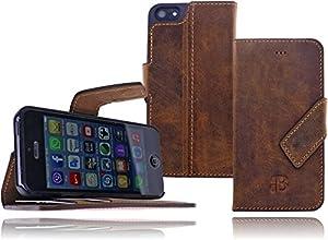 Premium Leder Book Case Flip Tasche für das iPhone 5 / iPhone 5S Wallet Cover Case Schutzhülle mit Standfunktion und EC-/Kreditkartenfach in Stone Washed Antik Rost braun