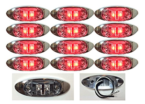 """12 New 4""""X1.5"""" Clear/Red Led Surface Mount Clearance Marker Identification Light With Chrome Bezel Oval Oblong -Good For Trucks Trailers Etc El-112692Cr"""