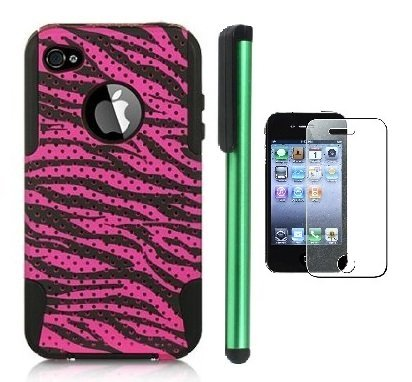 >>  2 in 1 Plastic Outside / Silicone Inside Premium Zebra Design Protector Cover Case Compatible for Apple Iphone 4S / 4 (AT&T, VERIZON, SPRINT, T-mobile) + Screen Protector Film + 1 of New Metal Stylus Touch Screen Pen (Pink Apex plastic / Black Silicone)
