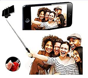 Aux Wired Selfie Stick Handheld Monopod Extendable Fold Selfie Stick for Smartphones and Cameras with Shutter Controls Button on Handle.