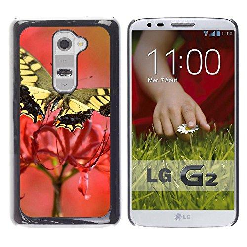 Gomma caso di Shell duro della copertura di accessorio di protezione BY RAYDREAMMM - LG G2 D800 D802 D802TA D803 VS980 LS980 - Moth Butterfly Flower Spring Nature