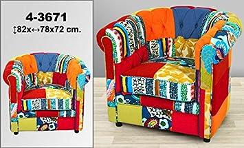 DonRegaloWeb - Sillon de forma clasica con tapizado patchwork decorado con multiples colores