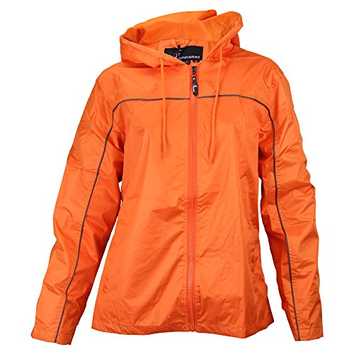 Ladies Single Piping Smart Jacket Windbreaker (X-Large, Orange / Charcoal)