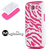 MagicSky Plastic Silicone Hybrid White Zebra Pattern Case for Samsung Galaxy III S3 i9300 - 1 Pack - Retail Packaging - Hot Pink