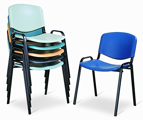 Sedia Da Ufficio Poltrona Fissa per Sala Attesa metallo e plastica blu impilabile