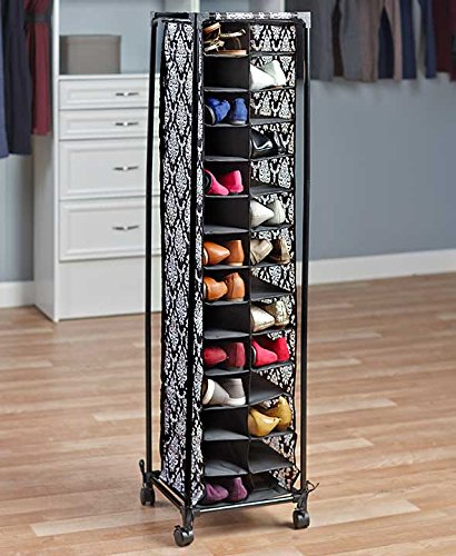 Tall Slim Space Saving Stylish Fashionista Shoe Cubby Rolling Storage Unit Cart (damask) (Tall Shoe Storage compare prices)