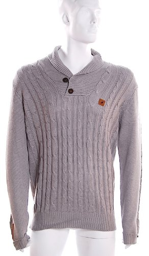 Mens Trendy KANGOL Knitted SHAWL Collared Jumper Sweater Pullover (With Epaulettes & Elbow Patches) - Grey - X-Large